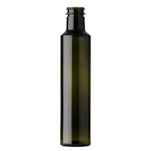 250 ml Antique Green PET Plastic Round Long Neck Dorica Oil Bottle - 29 mm Snap On Neck Finish - Front View