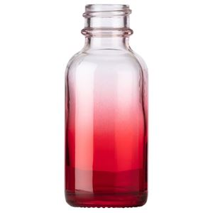 1 oz. Clear/Red Ombre Glass Boston Round Bottle - 20-400 Neck Finish - Front View