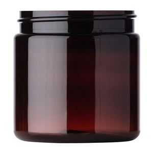 4 oz Amber PET Plastic Round Wide Mouth Jar - 58-400 Neck Finish - Front View