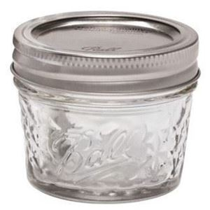 4 oz Clear Glass Round Quilted Crystal Ball Canning Jar - with Matching Band and Lid - Front View