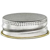 28-400 Continuous Thread Lined Silver/Gold Metal Tinplate Closure - Plastisol Liner - Front View