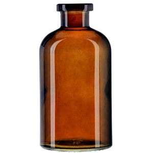 8 oz Dark Amber Glass Apothecary Boston Round Bottle - Cork Neck Finish - Front View