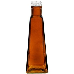 6 oz Dark Amber Glass Pyramid Oil Bottle - 28-400 Neck Finish - Front View