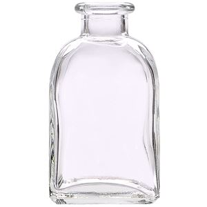 3.4 oz Clear Glass Rectangular Bottle - Cork Neck Finish - Front View