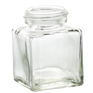 3.4 oz Glass Straight Sided Square Jar - 43-400 Neck Finish - Front View