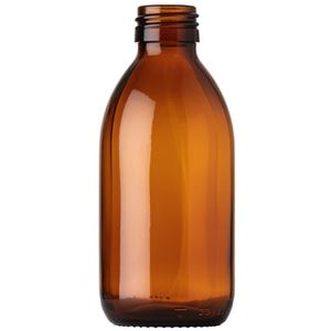 200 ml Amber Glass Type 3 Bullet Round Syrup Bottle - 28 Special Neck Finish - Front View