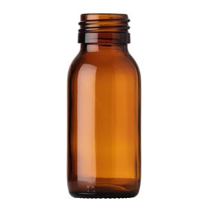 60 ml Amber Glass Type 3 Bullet Round Syrup Bottle - 28 Special Neck Finish - Front View