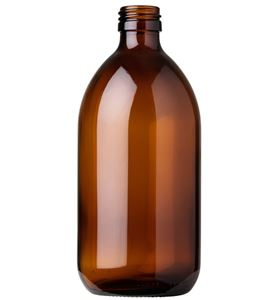 250 ml Amber Glass Type 3 Bullet Round Syrup Bottle - 28 Special Neck Finish - Front View