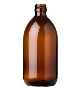 500 ml Amber Glass Type 3 Bullet Round Syrup Bottle - 28 Special Neck Finish - Front View