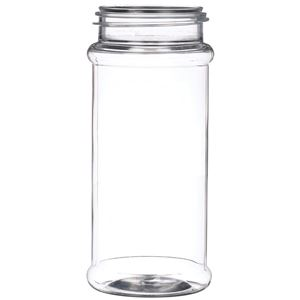 8.4 oz Clear PET Plastic Round Spice Jar - 53-485 Neck Finish - Front View