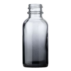 1 oz. Clear/Black Ombre Glass Boston Round Bottle - 20-400 Neck Finish - Front View