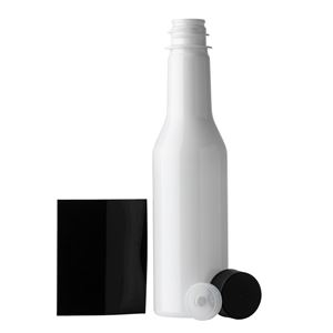 5 oz White PET Plastic Round Long Neck Bottle with F217 Lined Black Closure and Black Shrink Band - All Components