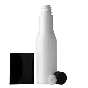 6 oz White PET Plastic Round Long Neck Bottle with F217 Lined Black Closure and Black Shrink Band - All Components