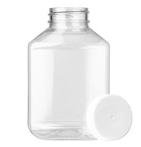 9 oz PET Plastic Oval Straight Sided Bottle with White F217 Lined Closure - Front View