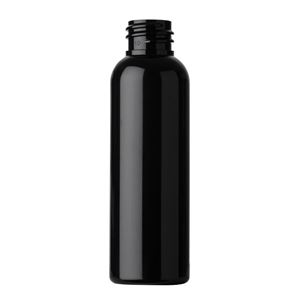 2 oz Black PET Plastic Bullet Round Bottle - 20-410 Neck Finish - Front View