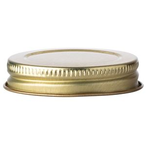 48-400 Gold Metal Continuous Thread Lined Closure - Plastisol Liner - Front View