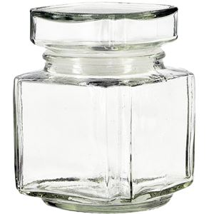 11 oz Clear Glass Square Acropolis Jar with Plug Style Glass Lid - Front View