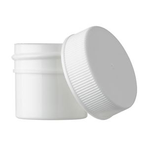 7.5 ml (0.25 oz) White P/S Plastic Round Jar with LDPE Lined White P/P Plastic Ribbed Closure - Front View