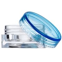 3 ml/ 3 gram Clear P/S Plastic Square Thick Base Jar - Blue Round Closure Included - Front View