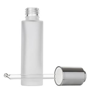 30 ml Frosted Clear Glass Cylinder Round Bottle with Wiper and 19.9 mm Silver Aluminum Button Dropper with Bent Round Tip Glass Pipette - Front View