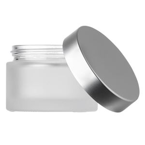 50 ml Frosted Clear Glass Jar with 53 mm Matte Silver Closure - Front View