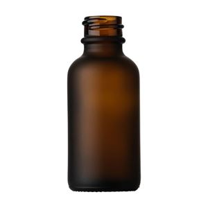 30 ml Frosted Amber Glass Boston Round Bottle - 19.63 mm Special Neck Finish - Front View