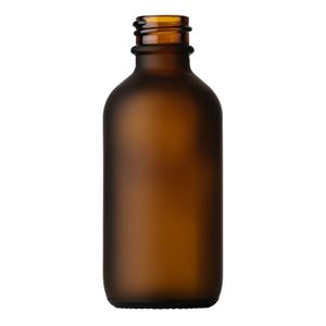 60 ml Frosted Amber Glass Boston Round Bottle - 19.63 mm Special Neck Finish - Front View