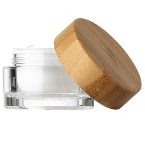 30 ml Clear Acrylic Lined Round Double Wall Jar - 50 mm Bamboo Wrapped Closure - Disc Liner - Front View