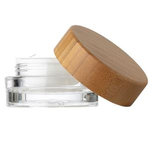 15 ml Clear Acrylic Lined Round Double Wall Jar - 50 mm Bamboo Wrapped Closure - Disc Liner - Front View