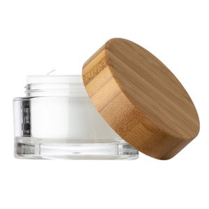 50 ml Clear Acrylic Lined Round Double Wall Jar - 58 mm Bamboo Wrapped Closure - Disc Liner - Front View