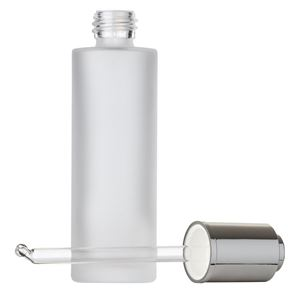 60 ml Frosted Clear Glass Cylinder Round Bottle with Wiper and 19.8 mm Silver Aluminum Button Dropper with Bent Round Tip Glass Pipette - Front View