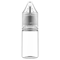 V3 - 10 ml Clear PET Chubby Gorilla Round Unicorn Dropper Bottle with Natural CRC Closure  - Front View