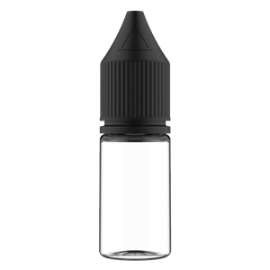 V3 - 10 ml Clear PET Chubby Gorilla Round Unicorn Dropper Bottle with Solid Black CRC Closure - Front View