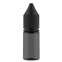 V3 - 10 ml Transparent Black PET Chubby Gorilla Round Unicorn Dropper Bottle with Solid Black CRC Closure - Front View