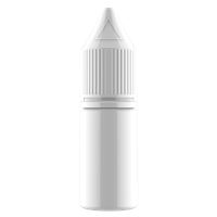 V3 - 10 ml Opaque White PET Chubby Gorilla Round Unicorn Dropper Bottle with Solid White CRC Closure  - Front View