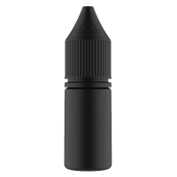 V3 - 10 ml Opaque Black PET Chubby Gorilla Round Unicorn Dropper Bottle with Solid Black CRC Closure - Front View