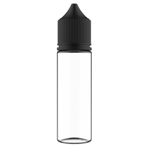 V3 - 50 ml Clear PET Chubby Gorilla Round Unicorn Dropper Bottle with Solid Black CRC Closure - Front View