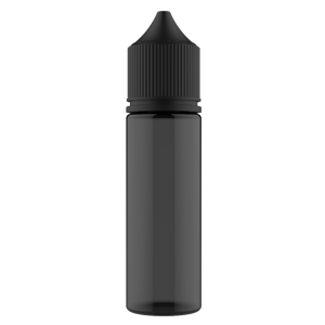 V3 - 50 ml Transparent Black PET Chubby Gorilla Round Unicorn Dropper Bottle with Solid Black CRC Closure - Front View