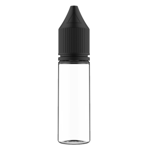 16.5 ml Clear PET Chubby Gorilla Stubby Unicorn Dropper Bottle with Solid Black CRC Closure - Front View