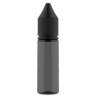 16.5 ml Transparent Black PET Chubby Gorilla Stubby Unicorn Dropper Bottle with Solid Black CRC Closure - Front View