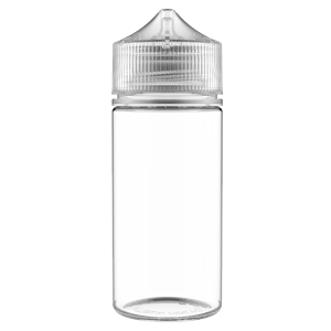 V3 - 100 ml Clear PET Chubby Gorilla Round Unicorn Dropper Bottle with Natural CRC Closure - Front View
