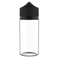 V3 - 100 ml Clear PET Chubby Gorilla Round Unicorn Dropper Bottle with Solid Black CRC Closure - Front View