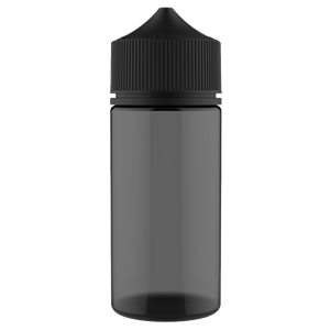 V3 - 100 ml Transparent Black PET Chubby Gorilla Round Unicorn Dropper Bottle with Solid Black CRC Closure - Front View