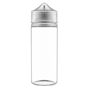 V3 - 120 ml Clear PET Chubby Gorilla Round Unicorn Dropper Bottle with Natural CRC Closure - Front View