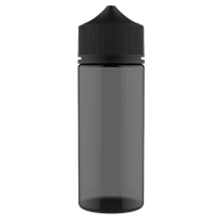 V3 - 120 ml Transparent Black PET Chubby Gorilla Round Unicorn Dropper Bottle with Solid Black CRC Closure - Front View