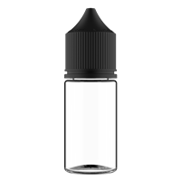 30 ml Clear PET Chubby Gorilla Round Stubby Unicorn Dropper Bottle with Solid Black CRC Closure - Front View