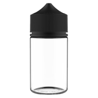 75 ml Clear PET Chubby Gorilla Round Stubby Unicorn Dropper Bottle with Solid Black CRC Closure - Front View