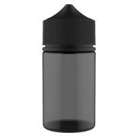 75 ml Transparent Black PET Chubby Gorilla Round Stubby Unicorn Dropper Bottle with Solid Black CRC Closure - Front View