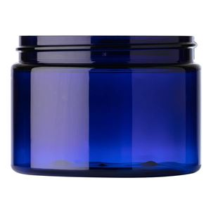 12 oz Cobalt Blue PET Plastic Round Straight Sided Jar - 89-400 Neck Finish - Front View
