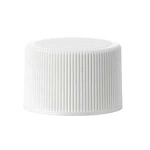 24-410 Continuous Thread White P/P Plastic Lined Closure - FSM-1 Liner - Front View